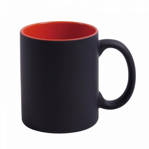 Cană termo negru mată si interior roşu