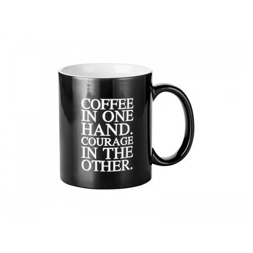"""Cană termosensibilă sublimabilă negru """"Coffee Motto"""""""